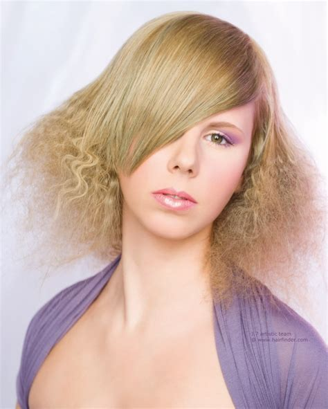 hair pictures hairstyle with crimped hair and elongated bangs that flow