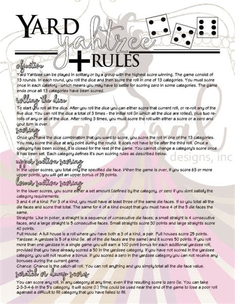 printable yahtzee rules yard yahtzee yardzee rules