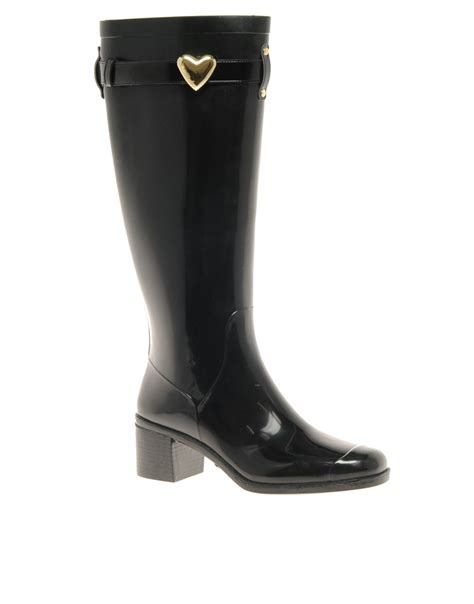 moschino jelly heeled wellington boots in black lyst