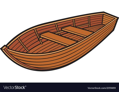 wood boat vector wooden boat royalty free vector image vectorstock