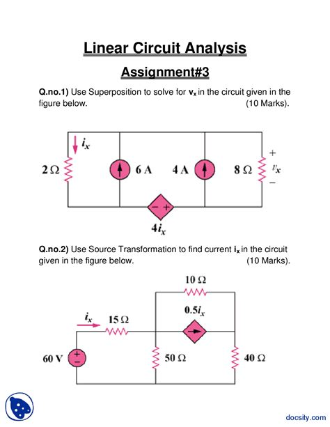 linear electronic circuits superposition linear circuit analysis assignment docsity