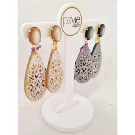 orecchini a goccia traforata con toppa ovale pavie bijoux