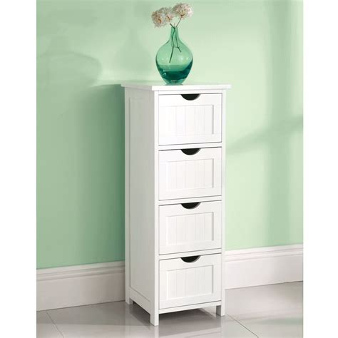 White Wooden Bathroom Storage White Wooden Bathroom Cabinet Shelf Cupboard Bedroom Storage Unit Free Standing Ebay