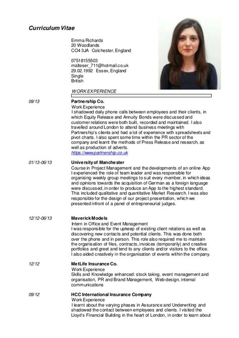Best Resume Template App by Emma Richards English Cv 2015