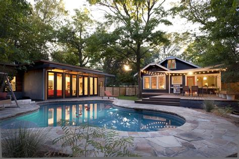 Outdoor String Lights Pool Modern With Backyard Bungalow Backyard Pool House