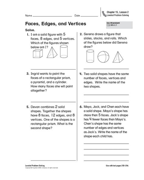 Identifying Faces Edges And Vertices Worksheet by Worksheets Faces Edges And Vertices Worksheet