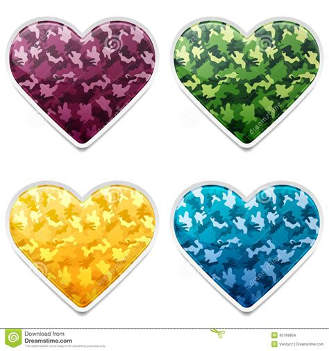 Set Army Yellow colorful camouflage hearts stock vector image 40769854