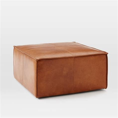 leather hassock ottoman leather ottoman west elm