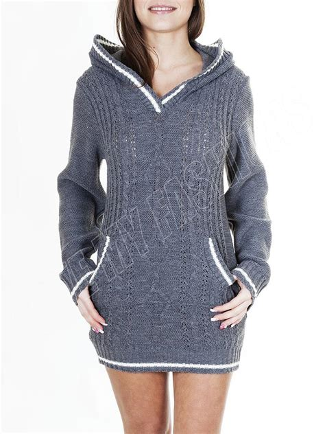 Dress Gray S M L Xl 16422 new womens cable knitted hooded jumper dress