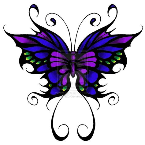 butterfly tattoo clipart butterfly tattoo blue purple and green w black outline
