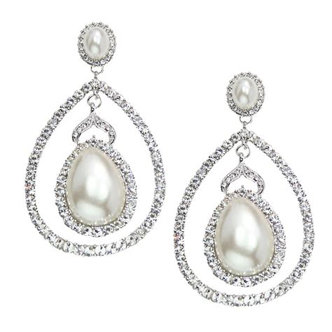 Italian Luxe Collection Luxury Swarovski Crystal Wedding Chandelier Pearl Earrings For Wedding