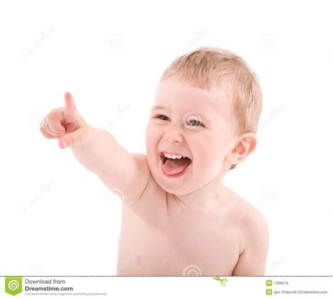 Umn Finder Portrait Of Baby Pointing By Finger Royalty Free Stock