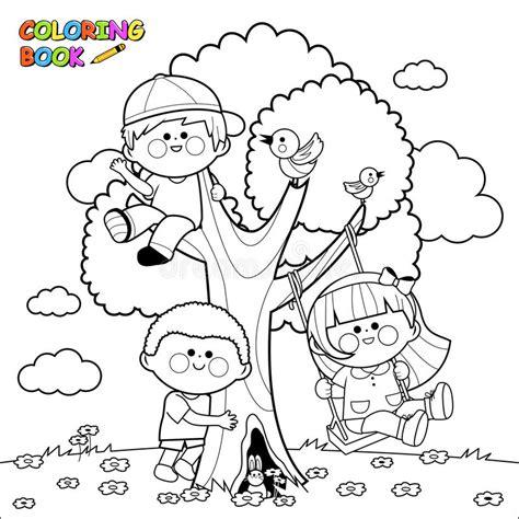 clipart bambini giocano bambini giocano ad una pagina libro da colorare