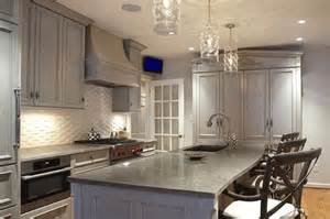 Grey Wash Kitchen Cabinets by Gray Washed Kitchen Cabinets Transitional Kitchen