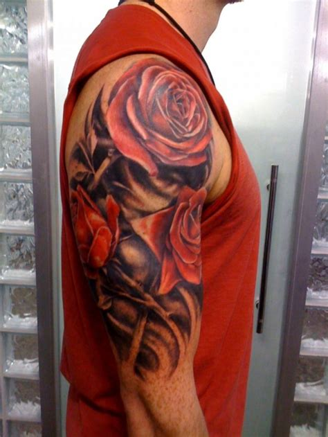 upper arm tattoo for men realistic flowers for on arm