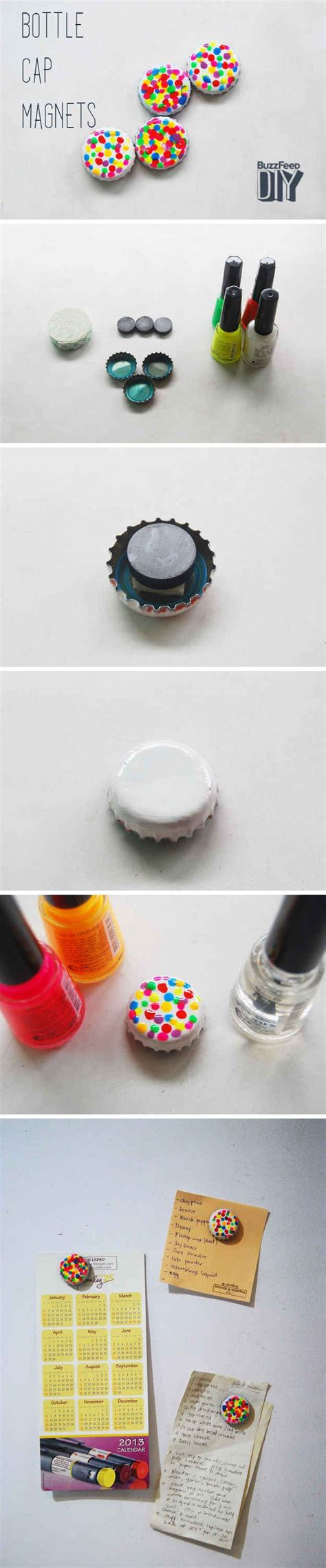 diy bottle cap magnets how to use nail in completely ways