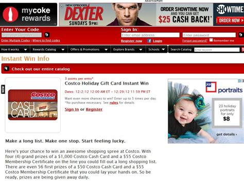 Instant Win Gift Cards - costco holiday gift card instant win