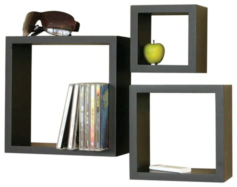 cube 3 shelf set black contemporary