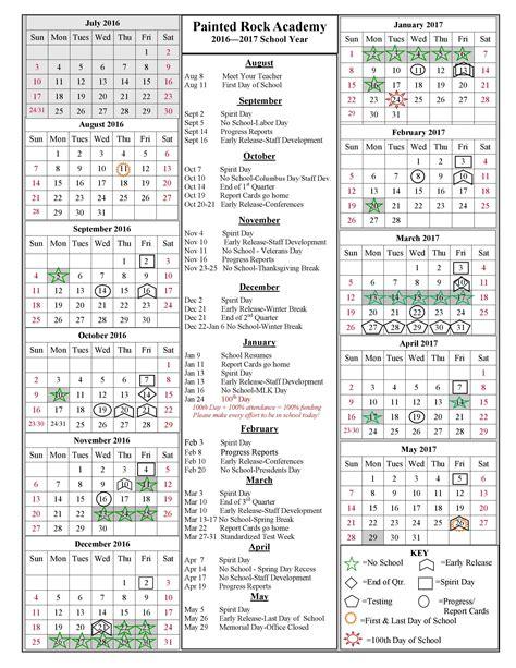 Calendar 2015 16 School Year School Year Calendar 2016 2017 Painted Rock Academy