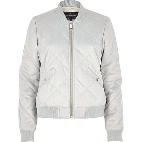Jaket Bombber Scrimmer Light Grey Jaket Bomber Jaket Bomber light grey quilted faux suede bomber jacket jackets