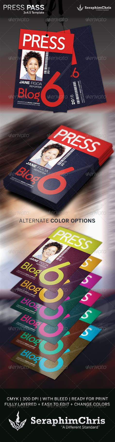 Press Pass Template 2 By Seraphimchris Graphicriver Media Pass Template Photoshop