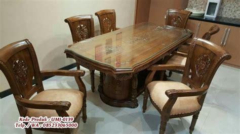 Meja Makan Jati Kursi Enam jual kursi meja makan jati ukir mebel jepara harga terjangkau call 6285233065000 zahir