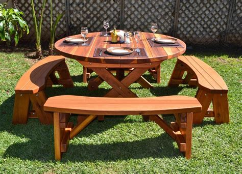 outdoor table with bench small round outdoor wooden picnic table with separate benches on green grass garden ideas