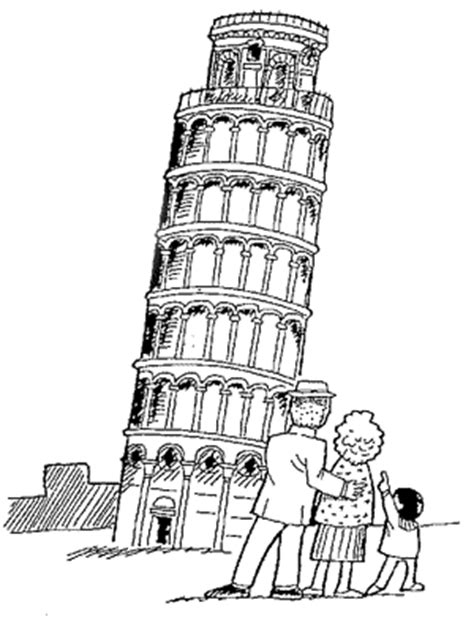 The Leaning Tower Of Pisa Colouring Pages Page 3 Sketch Leaning Tower Of Pisa Coloring Page
