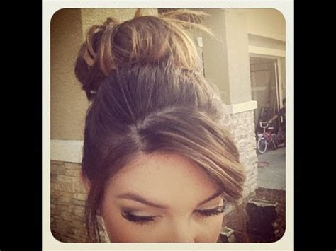 thinning bun how to messy bun for short thin hair youtube