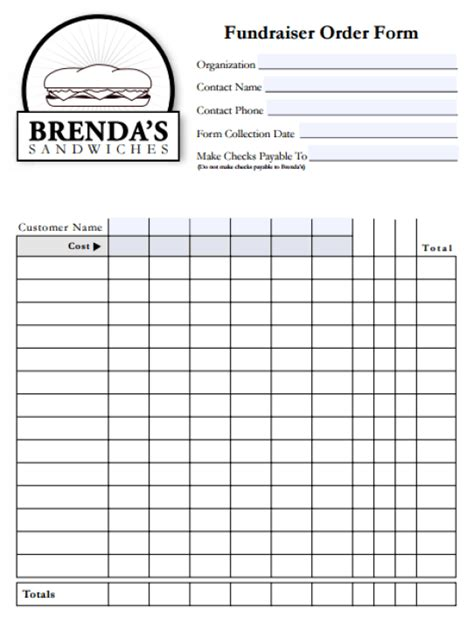 fundraiser form template free 6 fundraiser order form templates website