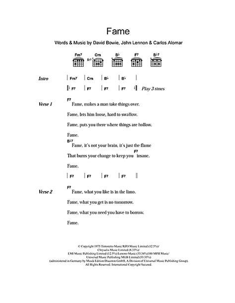 lyrics bowie david bowie fame sheet