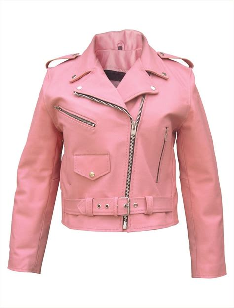 Womens Pink Leather Motorcycle Jacket Pink Leather
