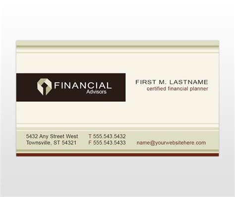 financial business card template financial planner planning consultant business card