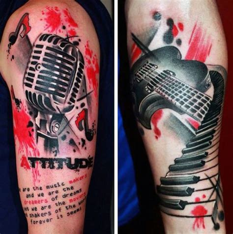 music themed tattoos designs 100 trash polka tattoos for masculine design ideas