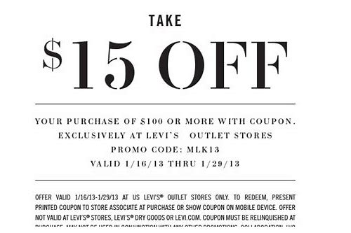 levi outlet coupon in store
