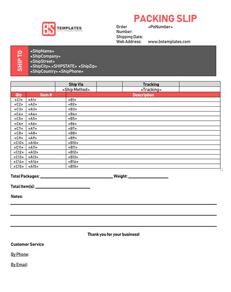 drop shipping packing slip template templates at
