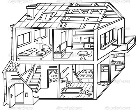 how to color a house white house outline drawing dwelling house stock inside