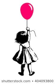 girl holding balloons images stock  vectors