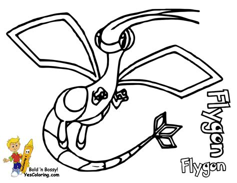 Pokemon Coloring Pages Flygon | pokemon mega flygon free colouring pages