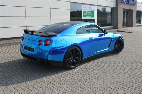 chrome nissan nissan gt r met blue chrome wrap wrap my ride
