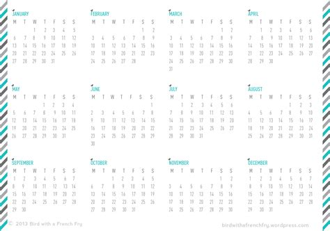 a5 calendar template a5 calendar printable one year one page a bird with a