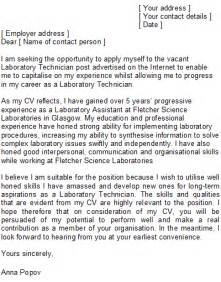 laboratory technician cover letter sample