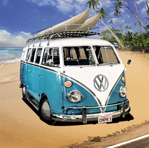 volkswagen bus beach vw cer blue on beach the uk art depot shop