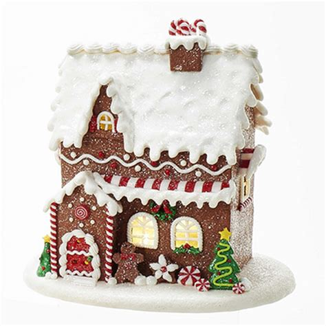 lighted christmas tree gingerbread house for the home