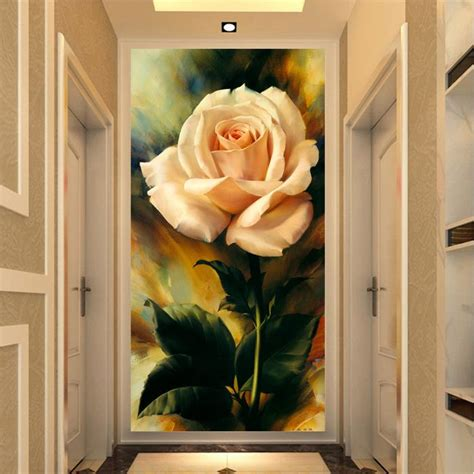 decor painting rose flowers 3d oil modern home wall decor painting canvas