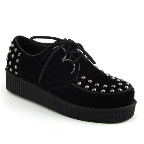 Flats Bg 6 Maroon Flats Shoes Supertu platform brothel lace up womens flat stud spike creepers shoes ebay