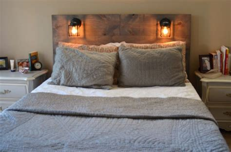 built in headboards rustic headboard with built in lighting