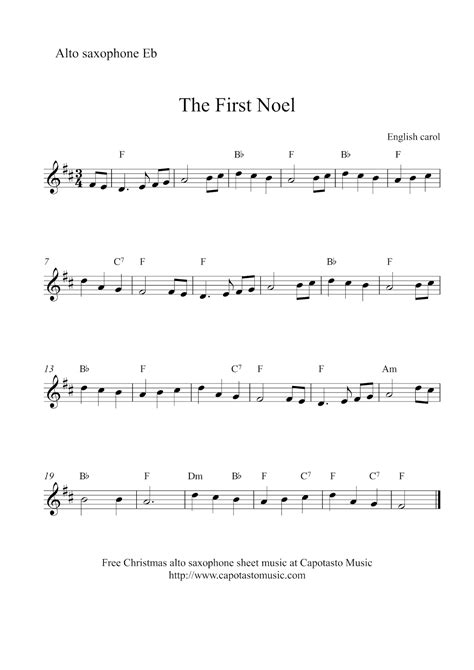 free printable sheet music alto sax free christmas alto saxophone sheet music the first noel