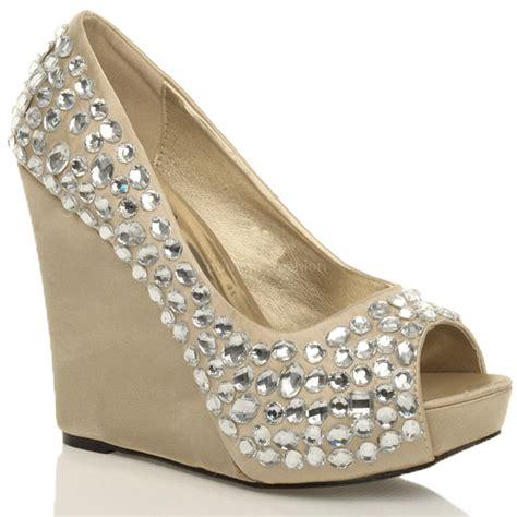 Sepatu Formal Wedges Mengkilapglossy Wedges Formal Shoes womens wedding platform wedge bridal sandals evening prom shoes size ebay