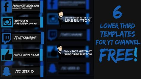 Template Social Media Lower Thirds Free Photoshop Clean Middle Cards For Youtube Channels Lower Third Templates Photoshop